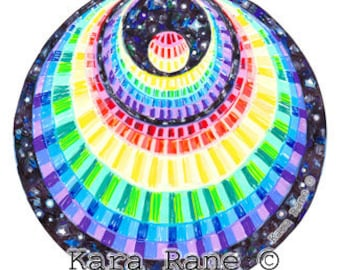 Cosmic Circle, Rainbow Angel, Sun light catcher Window cling, Crescent Moon, Visionary Art, Infinitely Re-usable, Home & Car art glass decor