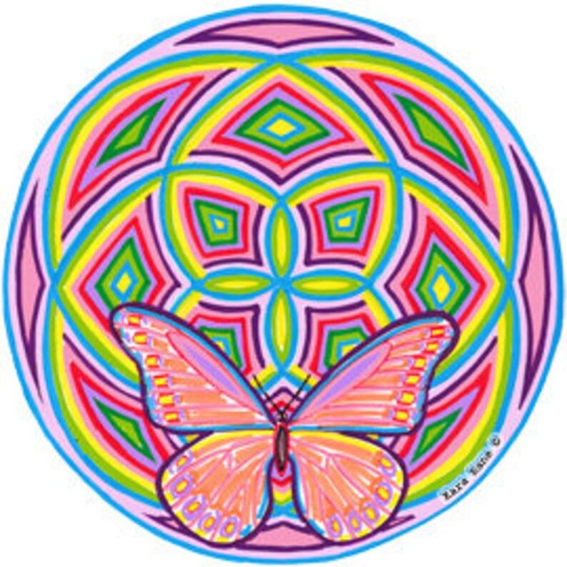 Cosmic Circle Groovy Wings Sun Light catcher Window cling image 0