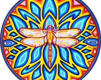 Cosmic Circle, Dragonfly, Sun Light catcher Window cling, Blue Lotus, Water Spirit, Eco-friendly Re-usable Glass decor made in California