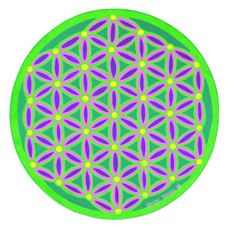 Cosmic Circle Neon Green Flower of Life Sun Light catcher image 0