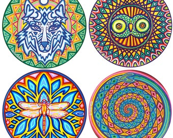 """Choose any 4 (large 6"""" size) Cosmic Circles, Eco friendly Art, Sun Light catcher Window cling, Home decor, Rainbow Colors, Best Gift Ever!"""