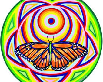 Cosmic Circle, Monarch Solar Butterfly, Sun Light catcher window cling, Sacred Flower Geometry, Infinitely Re-usable, Art made in California