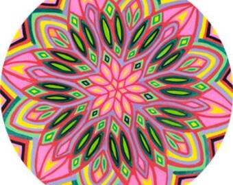 Cosmic Circle, Flower Power, Sun Light catcher window cling, Boho Modern Hippie, Re-usable Non-adhesive sticker, Bird Safe, EcoFriendly Gift