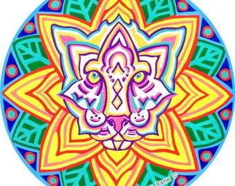 Cosmic Circle, Cat Feline, Sun Light catcher EcoFriendly Window cling, Reusable Water bottle sticker, Car Van decor, Animal Tropical Mandala
