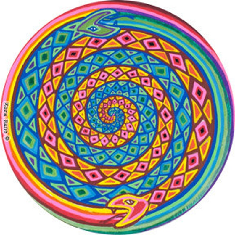 Cosmic Circle Spiral Snakes Window cling Sun catcher image 0