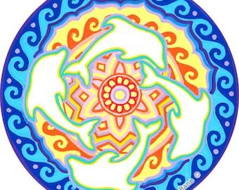 Cosmic Circle, Dolphins, Sun Light Catcher Window Cling, Higher Consciousness, Ecofriendly Art, Infinitely Re-usable, Sun Mandala Portal Art