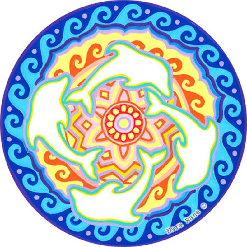 Cosmic Circle Dolphins Sun Light Catcher Window Cling image 0