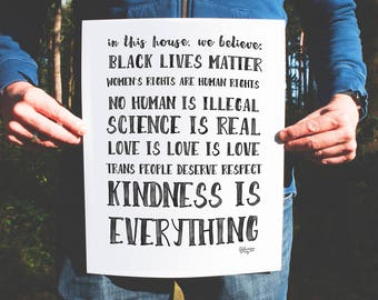 Poster print In this house manifesto Black Lives Matter, love is love, women's rights, human rights, science is real, respect trans people