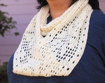 Pattern - Nordic Flowers Filet Crochet Cowl (or Neckwarmer) PDF File