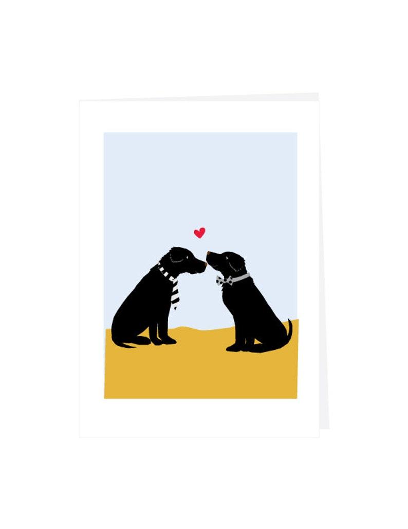 Mr and Mr Gay Wedding Card Dapper Black lab couple note card