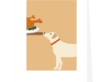 Happy Thanksgiving yellow lab at the table greeting card collection