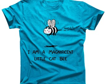 4edb09caf5f58 Magnificent Little Cat Bee Cute Kawaii Tshirt (womens sizes are a junior  fit