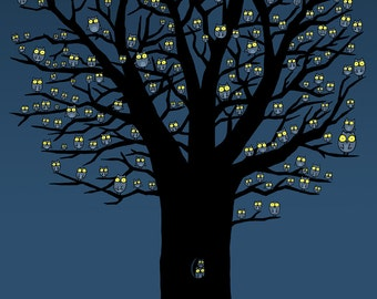 Owlies Live in Owlie Trees Art Print