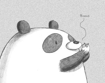 Bisous Panda Bear Greeting Card