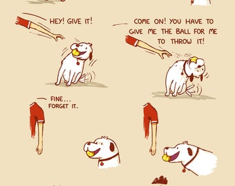Sneaky Dog With Ball Greeting Card