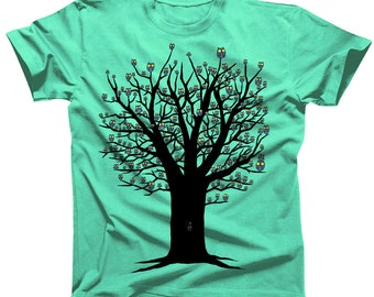 Owlie Tree Kawaii Cute Tshirt (womens shirts are a junior fit, ie they run small)
