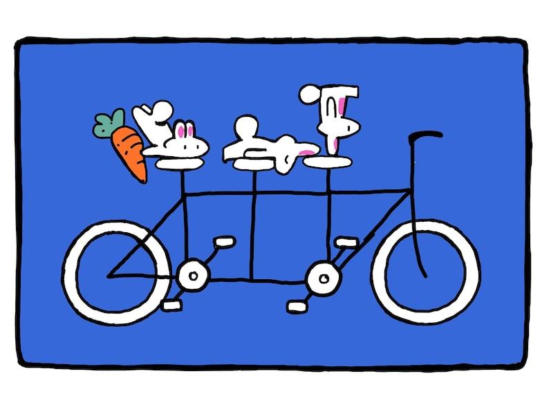 Tandem Bicycle Bunnies Art Print