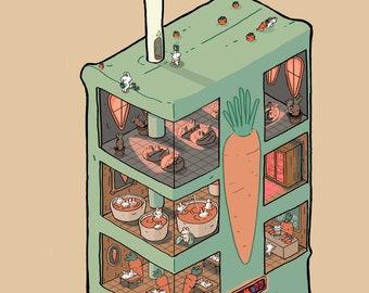Carrot Juicebox Spa Art Print - Bunnies Favorite Relaxation Destination
