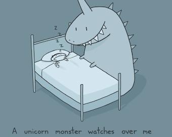 Unicorn Monster Greeting Card