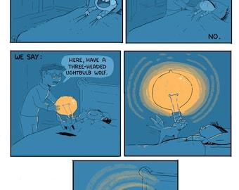 3-Headed Lightbulb Wolf Art Print