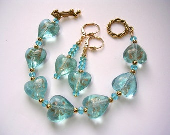 Aqua heart bracelet earrings and pendant set Lampwork gold foiled Toggle Clasp Leverback Hooks Free necklace pendant