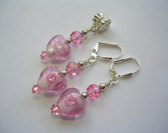 Rose Pink Silver Foiled  Earrings Swarovski Crystal Earrings Leverback Hooks Free Necklace Pendant Gift Wrapped