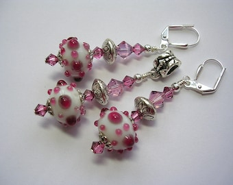Pink and White Lampwork Earrings Swarovski Crystal Leverback Hooks Free Necklace Pendant