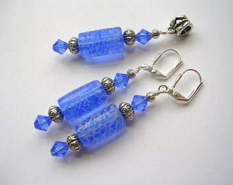 Blue Earrings Sapphire Lampwork and Swarovski Crystals in Silver Lightening Beads Leverback Hooks Wire Wrapped Free Necklace Pendant