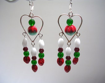 Ladybug Earrings Chandelier Lady Bug Red White Green Heart Leverback Hooks Very Cute!  Shoulder Dusters