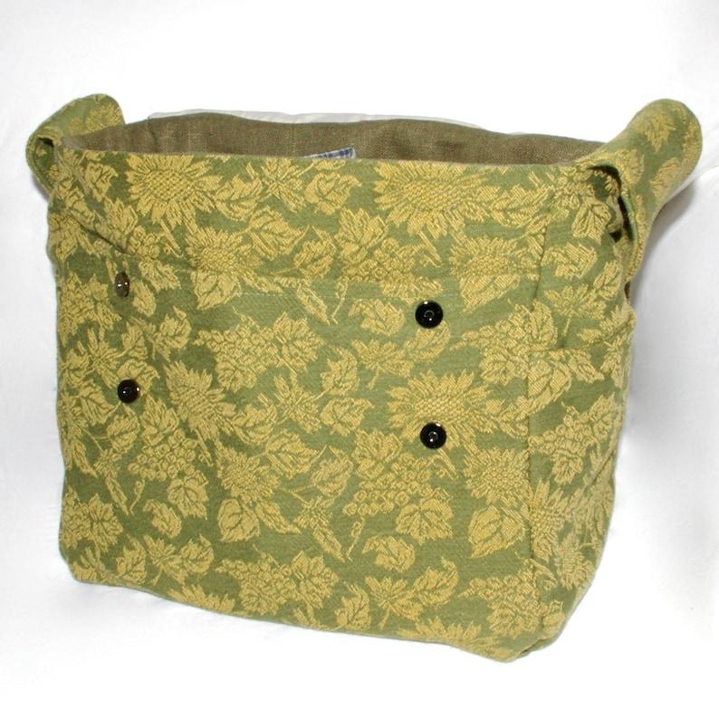 Pro-knitter tote storage handbag Knitting Bag Dispenser bag Green Snag-Free yarn Woven decor travel bag crochet Yarn flowers