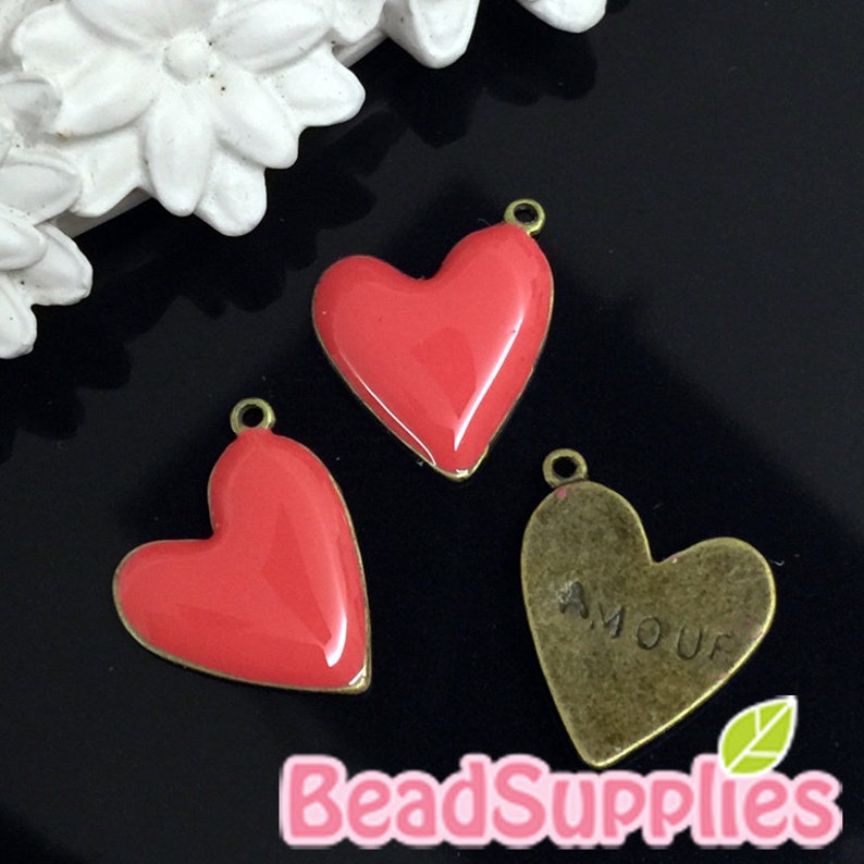 coral red 4 pcs Oblique heart charm with amor stamped CH-EX-03019CR