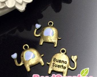 CH-ME-03198LC - Antique brass, Cutie elephant charm with lilac heart, 6 pcs
