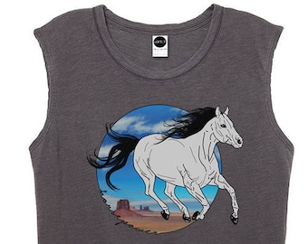 Horse Graphic TShirt • Womens 70s 80s Vintage Inspired Tee Shirt • Horsepower Print Top • Sleeveless Tank • Bohemian Boho Clothing • L415&Co