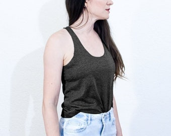 d808acb21011a Cotton Racer Back Tank Top • Womens Basic Blank Solid Tanks • T-Shirt •  Activewear Casual Tri Blend Tank Tops • L415   Co ( 415-227)