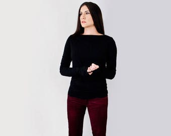 Women's Super Long Sleeve Boatneck Shirt | Jersey Tshirt | Tall Long Length | Ethically made in our USA loft | L415&Co Clothing (#415-214)