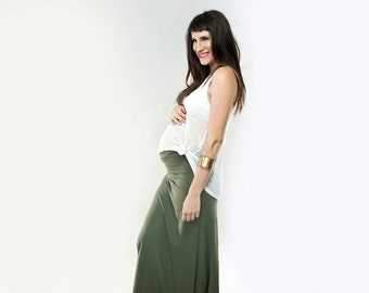 Maternity Maxi Skirt | Long Women's Skirts | Tall or Petite Length | Bohemian Boho | Made in our USA loft | L415 & Co Clothing (#415-100)