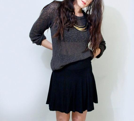 cfd24c5c88 Skater Skirt Short Jersey Mini Skirt Tall Length Black | Etsy