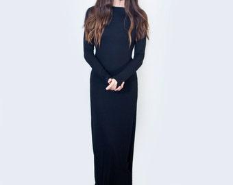 Maxi Dress | Boatneck Long Sleeve Dress | Women's Tall Petite Length Dresses | Black Jersey Dress | L415&Co Clothing (#415-715)