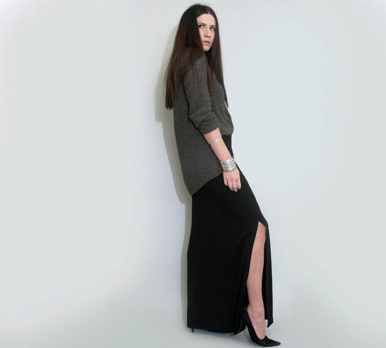 fb0e3d5cfc Long Skirt Leg Slit Floor Length Maxi Skirt Tall | Etsy