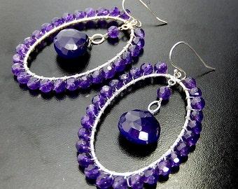 Purple Hoop Earrings, Wire Wrapped Oval Hoops, Grape Gemstone Teardrops, Sterling Silver
