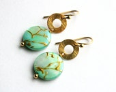 Green Shell Earrings, Mother of Pearl, Gold Coin Earrings, Pearly Sea Green Drops