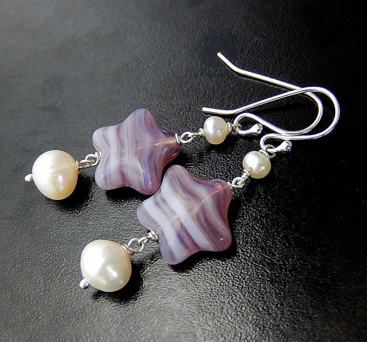 Long Pearl Earrings Gold Mauve Pearl Drops Pearl Long Dangle Drop Earrings Light Pink Pearl Dangles White Pearl Bridal Earrings Mauve Pearls