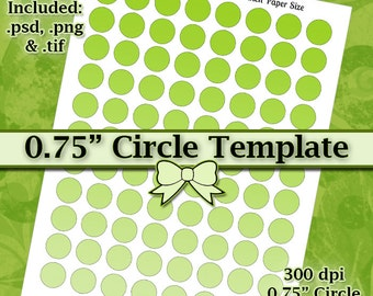 DIY DIGITAL Collage Sheet TEMPLATE .75 Inch Circle 8.5x11 Page with Video Tutorial Instructions (Instant Download)