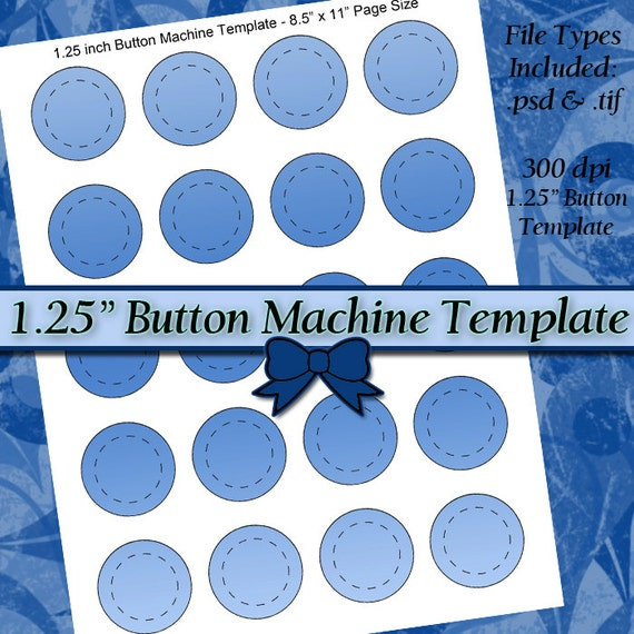 125 Inch Button Machine TEMPLATE DIY DIGITAL Collage Sheet