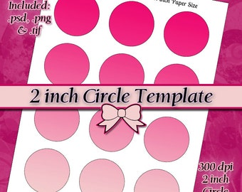 2 inch Circle DIY DIGITAL Collage Sheet TEMPLATE 8.5x11 Page with Video Tutorial Instructions (Instant Download)