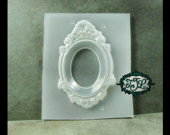 resin MOLD Baroque Jewelry Frame with bevel inset also for polymer clay, pmc, plaster, soaps, and candles