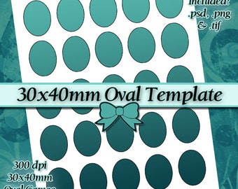 30x40mm Oval Cameos DIY DIGITAL Collage Sheet TEMPLATE 8.5x11 Page with Video Tutorial Instructions (Instant Download)