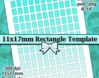 11x17mm Rectangle DIGITAL Collage Sheet TEMPLATE DIY 8.5x11 Page with Video Tutorial Instructions (Instant Download)