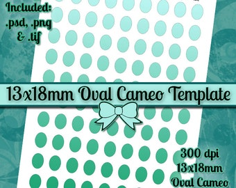 13x18mm Oval Cameos DIY DIGITAL Collage Sheet TEMPLATE 8.5x11 Page with Video Tutorial Instructions (Instant Download)