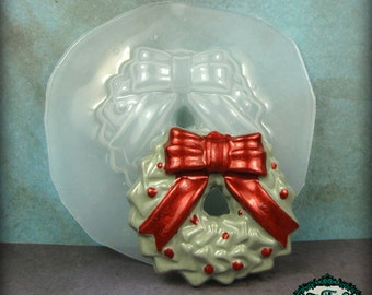 RESIN MOLD Holiday Holly Wreath with Bow Flexible Plastic Mold